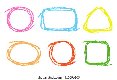 Colored round, square, triangular design elements. Set of funny copyspace. Colorful pastel chalk crayon hand drawing frames, vector background.