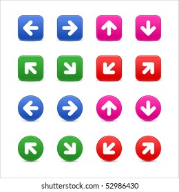 Colored round and square web button arrow group on white