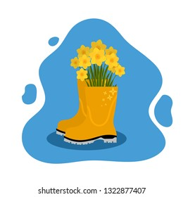 Colored rubber boot with flowers inside on a colored background. The concept of spring and flowering nature. Vector illustration