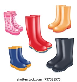 Colored rubber boots vector icon set. Rain boots realistic illustration isolated on white background.