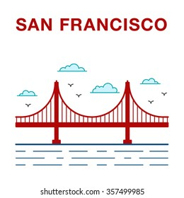 Colored San Francisco Golden Gate Bridge. San Francisco vector landmark illustration.