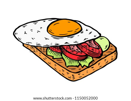 colored sandwich eggs on bread toast stock vector royalty free