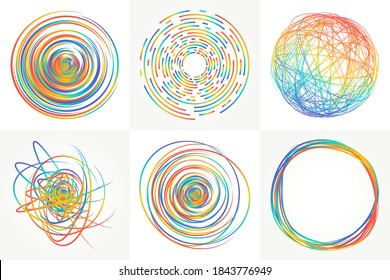 Colored scribble elements and doodles. Set of vector textures. Tangled background for creative labels and vibrant frames. Bright multicolored circles, spheres and round shapes. Hand drawn scribbles.