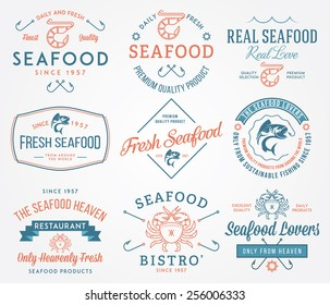 Colored seafood labels and badges vol. 2 for any use