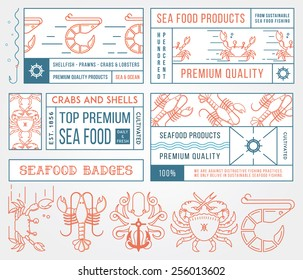 Colored seafood labels and badges vol. 4 for any use