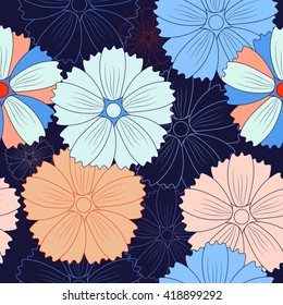 Colored seamless background with bright flowers