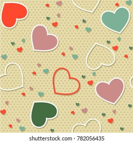 Colored seamless pattern background valentine heart vector illustration printing onto fabric and scrapbook paper