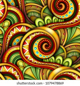 Colored Seamless Pattern with Ethnic Motifs. Endless Texture with Abstract Design Element. Khokhloma, Gypsy, Paisley Garden Style. Realistic Glossy Ornament. Vector 3d Illustration. Ornate Abstraction