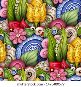 Colored Seamless Pattern with Floral Motifs. Endless Texture with Flowers, Leaves and Swirls. Natural Background in Doodle Style. Elegant Ornaments. Vector 3d Illustration. Abstract Ornate Art