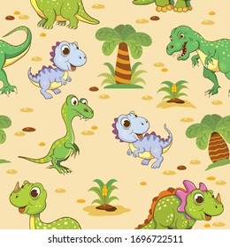 Colored seamless pattern with funny dinosaurs.