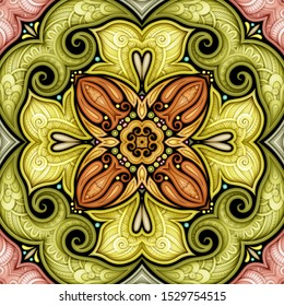 Colored Seamless Pattern with Mosaic Motif. Endless Floral Texture in Paisley Indian Style. Tile Ethnic Background. Realistic Complex Ornament. Vector 3d Illustration. Abstract Mandala Art
