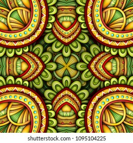 Colored Seamless Tile Pattern, Fantastic Kaleidoscope. Endless Ethnic Texture with Abstract Design Element. Khokhloma, Gypsy, Paisley Garden Style. Realistic Glossy Ornament. Vector 3d Illustration