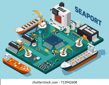 Colored semiconductor electronic components isometric seaport composition with tech elements combined in seaport vector illustration