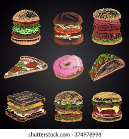 Colored set of chalk drawn 9 different fast food icons on black chalkboard: donut, pizza, burgers, tacos, sandwich. Menu theme.