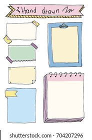Colored Set of Cute Hand drawn Doodle Banners and Frame isolated on white background for your Design. Bullet journal Ideas. Girly Stuff. Sticky notes.