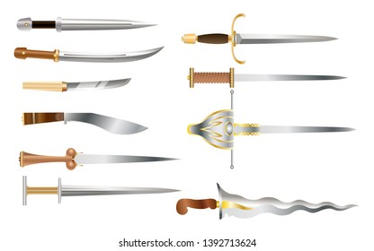 Colored set of daggers - vector illustration. Realistic steel arms of different countries and epochs, isolated on white. Weapons with a straight or curved blade.