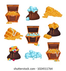 Colored set with full chests and bags of treasures, piles of golden bars, coins and diamonds. Colorful flat vector elements for game interface