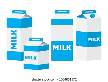 Colored set of milk carton packages. Vector illustration