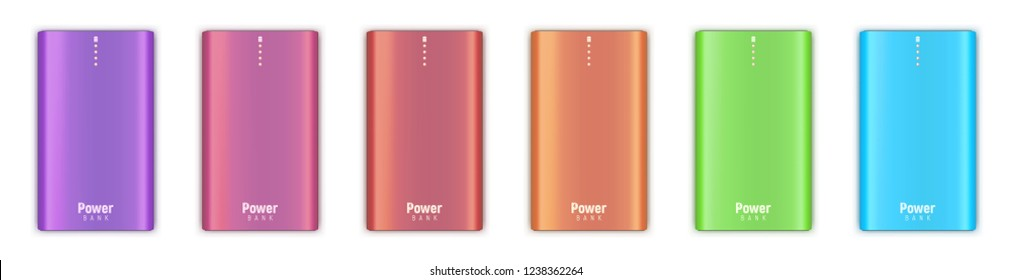 Colored set of realistic powerbanks isolated on white background. Four orange little lamps indicate about full charge. Vector illustration.