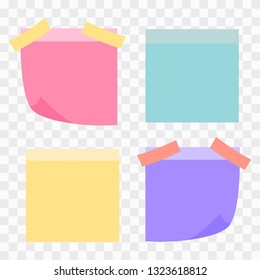 Colored set of sticky notes. Colored sheets of note papers vector illustration