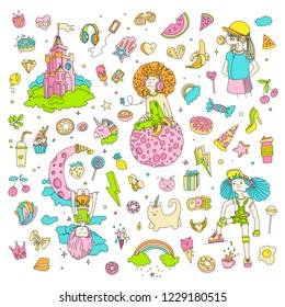 Colored Set of teenage girl icons, cute cartoon teen objects, fun stickers, patches design vector in teenager girls concept. Doodle icon set for teenagers. Colored hand drawn pizza, unicorn, sweets.