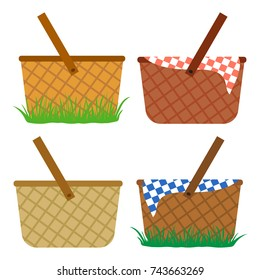Colored set of wicker baskets. Baskets in the grass, for a meal, for a picnic. Vector illustration.