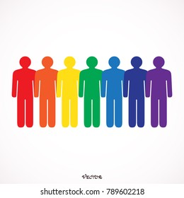 Colored seven people  isolated on white background in simple flat style. Graphic clip-art design elements save in vector illustration 8