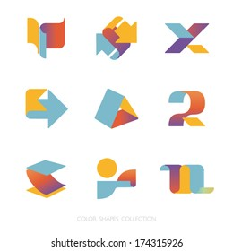 Colored shapes collection. Vector icon set. Logo template.