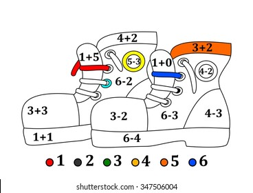Colored shoes as coloring counting for little kids - vector