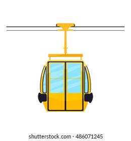 Colored silhouette of the cabin cableway. Design element of the cableway. Abstract object on a white background. Stock vector illustration
