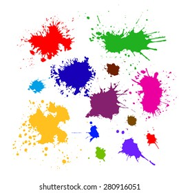 Colored silhouette set of ink blots. Vector