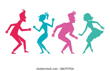 Colored silhouettes of dancing couples.