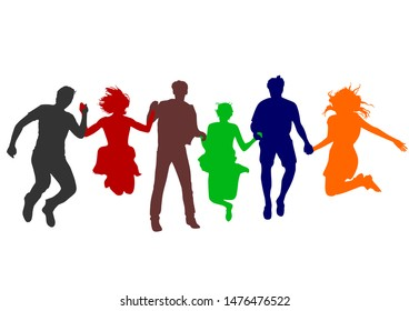 colored silhouettes of a large company that hold each other's hands and jump together up