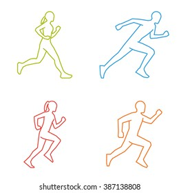 Colored silhouettes of runners. Line vector figures marathoner.