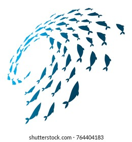 Colored silhouettes school of fish. A group of silhouette fish swim in a circle. Marine life. Vector illustration. Logo fishes.
