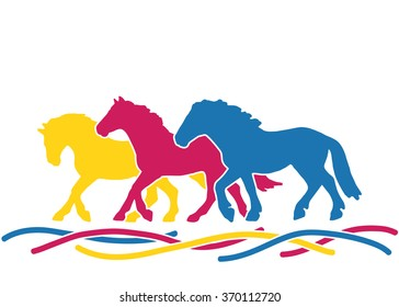 colored silhouettes of three horses red, blue and yellow running race