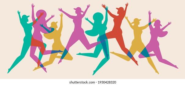 女性のシルエットが色付き、若者が踊る。 平らなベクター画像素材イラスト。 女性のジャンプ。 ダンス、喜び、ジャンプのコンセプト。 女性のシルエット。 ベクターイラスト