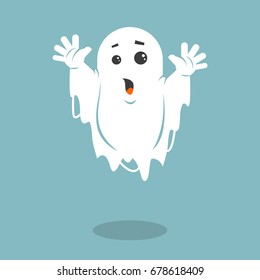 Colored simple flat art vector illustration of a frightening ghost