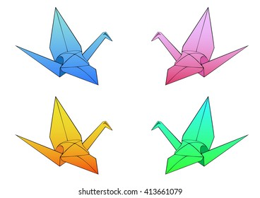 Colored simple origami paper model of a crane bird without a background