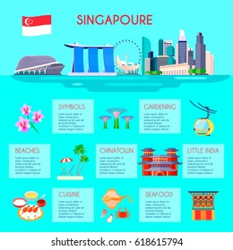 Colored singapore culture infographic with beaches gardening little india cuisine Chinatown and seafood descriptions vector illustration