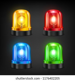 Colored sirens. Various colors of police or fire siren. Vector siren fire and police, emergency ambulance alarm illustration