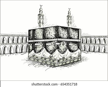 Colored sketch of Holy Kaba Shareef, Religious Place of Islamic Community.