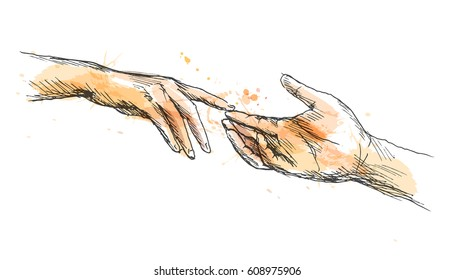 Colored sketch touching hands. Vector illustration