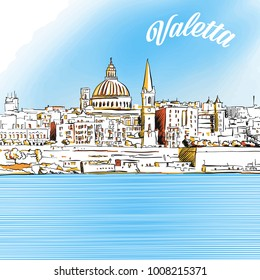 Colored Sketch of Valetta, Malta. Hand drawn vector illustration with modern Headline. Use for greeting card and travel marketing.