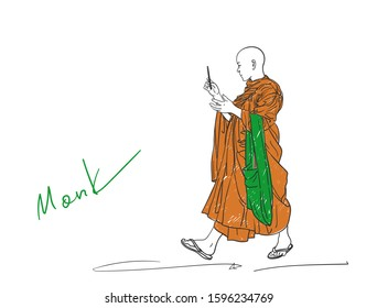 Colored sketch of walking buddhist monk with smart phone in hand, Hand drawn vector illustration isolated