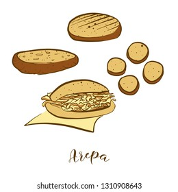 Colored sketches of Arepa bread. Vector drawing of Cornbread food, usually known in South America. Colored Bread illustration series.