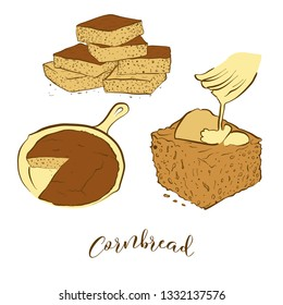 Colored sketches of Cornbread bread. Vector drawing of Cornbread food, usually known in America. Colored Bread illustration series.