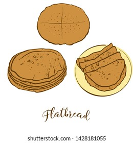 Colored sketches of Flatbread bread. Vector drawing of Flatbread food, usually known in . Colored Bread illustration series.