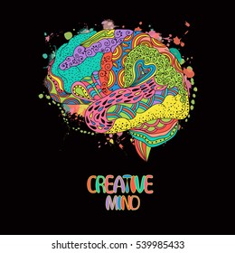 Colored sketchy human brain doodle decorative curves, creative mind, learning and design
