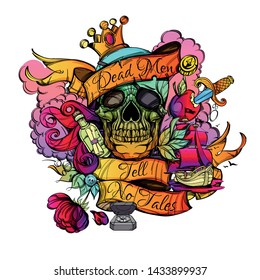 """Colored skull with with the inscription """"Dead Men tell no tales"""" and pirated items on a white background in cartoon style."""